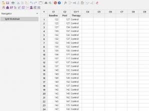 Split Worksheet در نرم افزار Minitab
