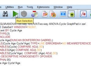 Syntax آنالیز واریانس دو طرفه و جدول Pairwise Comparison